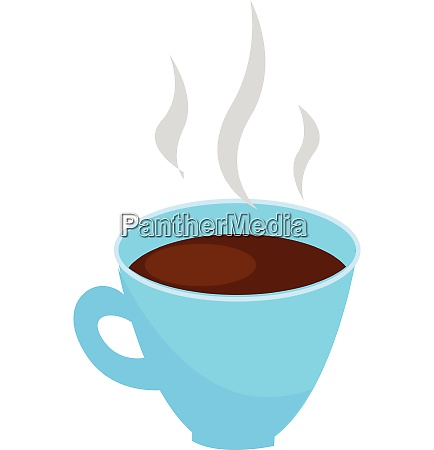 light blue coffee cup with steaming