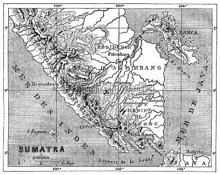 karte von sumatra vintage gravierte illustration