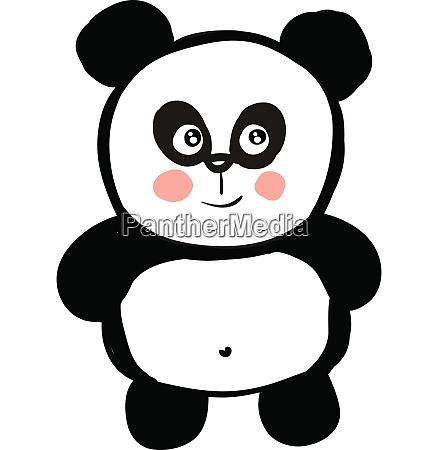 cute black and white panda smiling