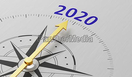 kompassnadel die auf den text 2020
