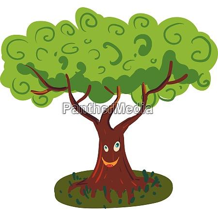 a happy big tree vector color
