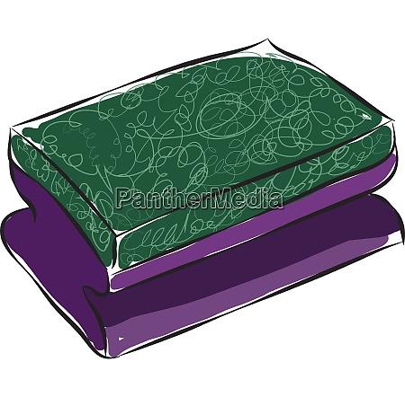 purple and green dishwashing sponge