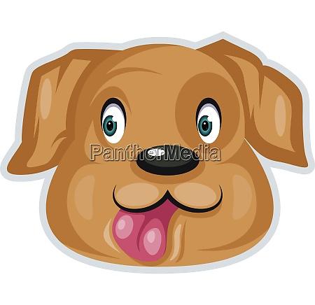 happy dog with green eyes illustration