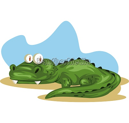 gruenes krokodil mit grossen augen illustration