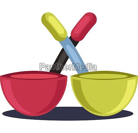 two bowl pans vector color illustration