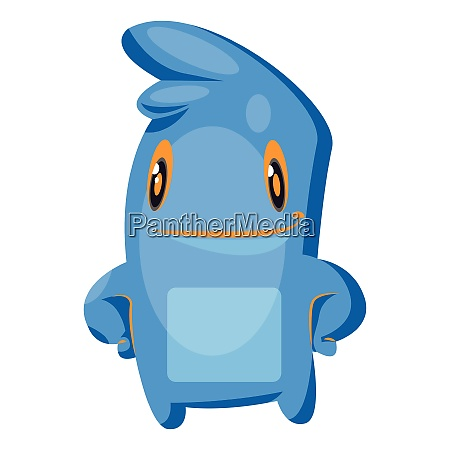 blue cartoon monster standing white background