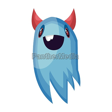 happy blue ghost cartoon character with