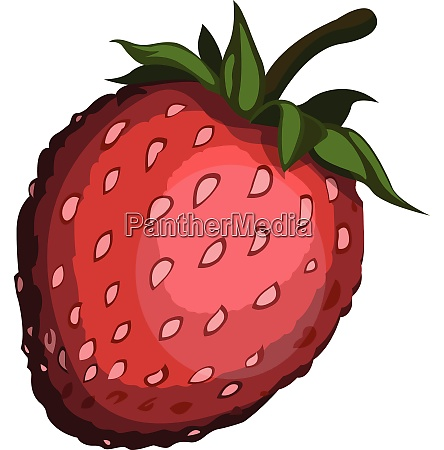 cartoon red strawberry with green petel