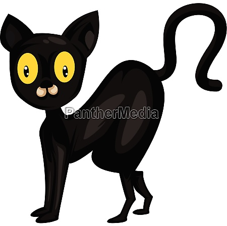 black cat with big yellow eyes