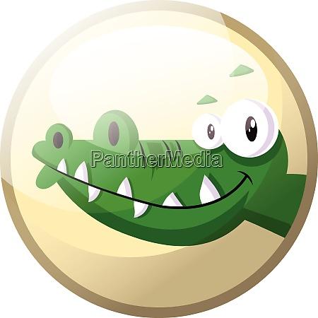 cartoon character of a green crocodile