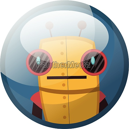cartoon character of yellow retro robot