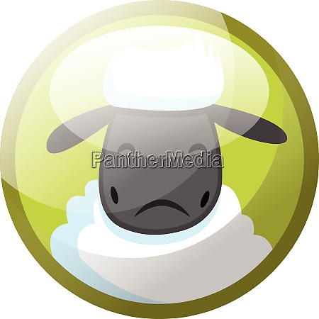 cartoon character of white sheep looking