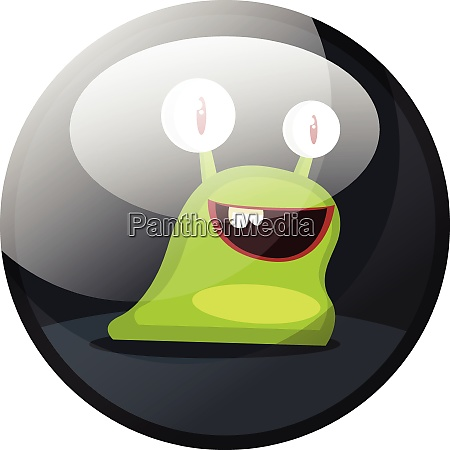 cartoon character of a green smiling