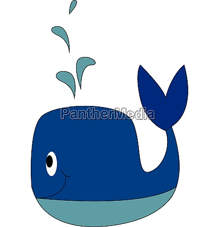 blue whale smiling vector illustration on