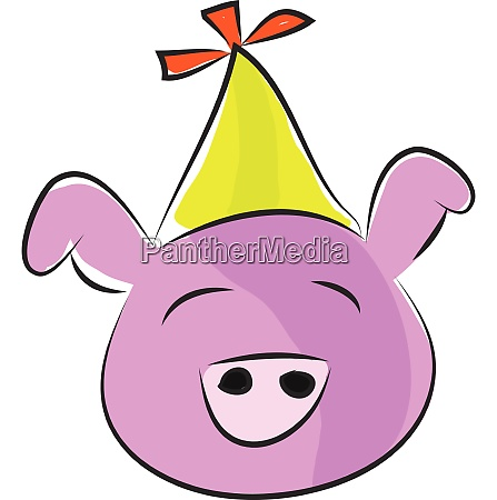 pink pig with yellow party hat