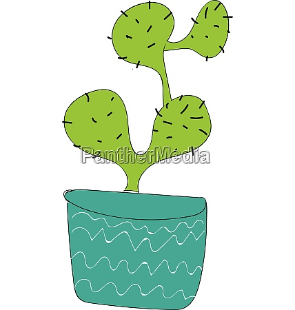 simple cactus in blue vase vector
