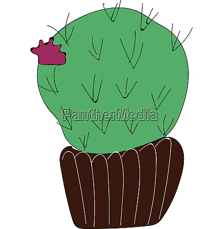 simple cactus with purple flower vector