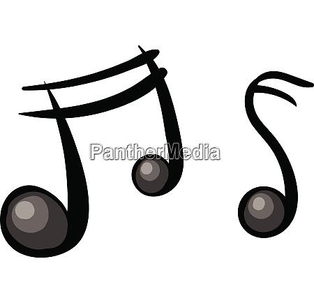 zwei cartoon musiknoten in schwarzer farbe