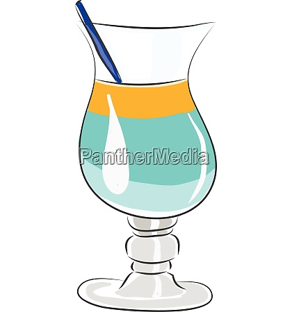 coctail glass with blue and yellow