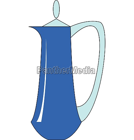 long blue kettle illustration vector on