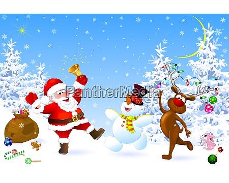 weihnachtsmann schneemann und hirsch feiern weihnachten