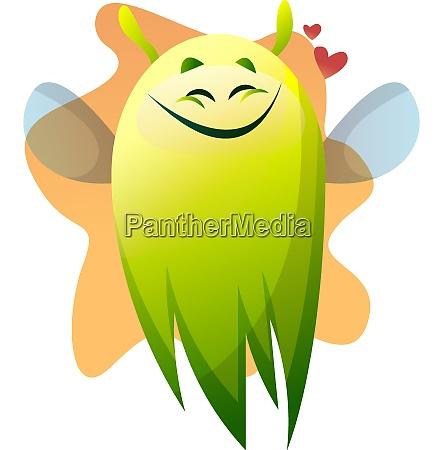 smiling cartoon green monster vector illustartion