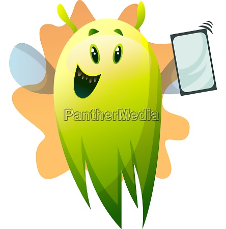 smiling cartoon green monster with phone