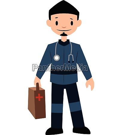 paramedic in blue uniform character vector