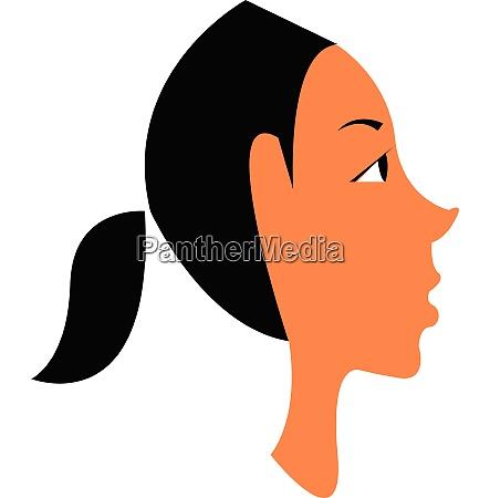 brown girl in black ponytail vector