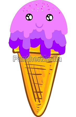 a happy purple ice cream vector