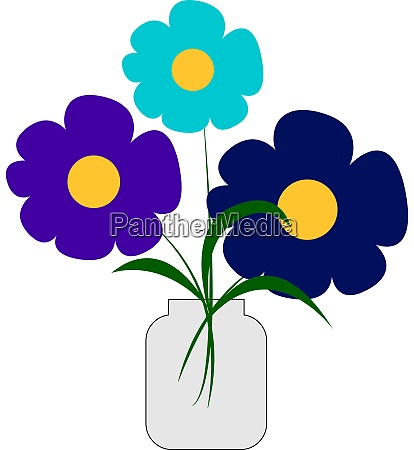 blue colored flowers in vase illustration