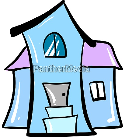 big blue house illustration vector on