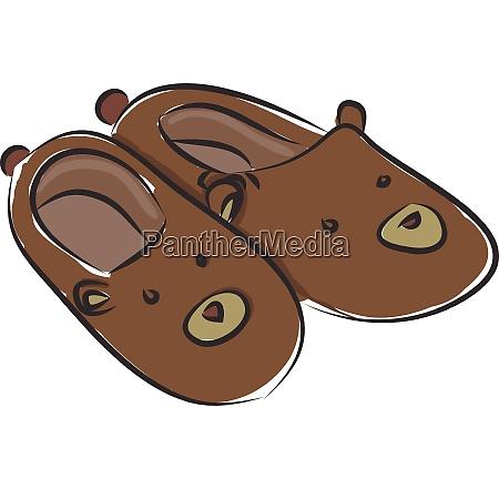 fluffy bear slippers illustration