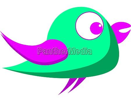 green bird with purple eyes illustration