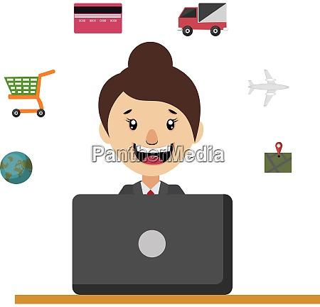 woman sitting at the desk illustration