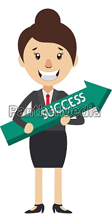woman holding arrow sign illustration vector