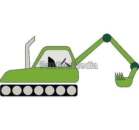 green color farm tractor vector or