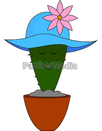 cactus with blue hat illustration vector