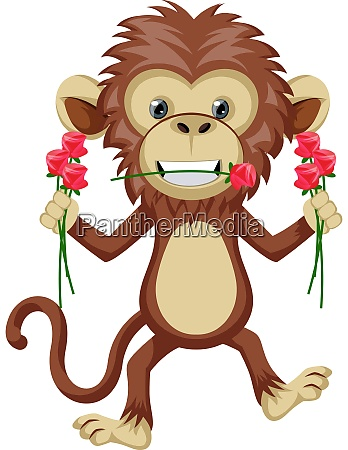 monkey with flowers illustration vector on