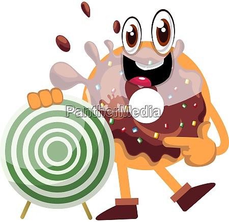 donut mit ziel illustration vektor auf