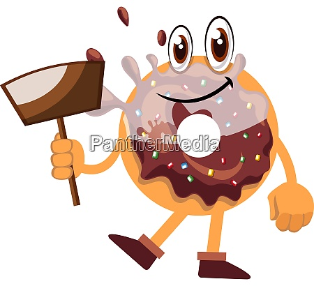 donut holding dust pan illustration vector