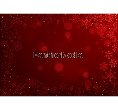 christmas snowflakes on red bokeh background