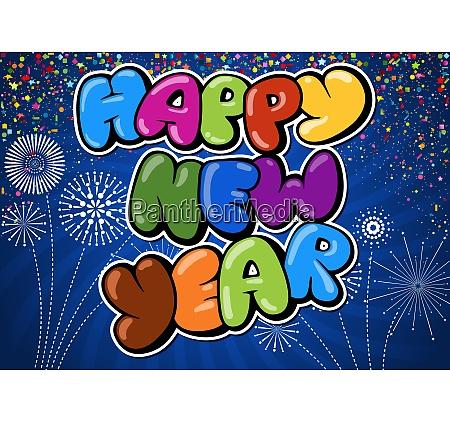 bunte frohe neujahrsgruss auf blauem hintergrund