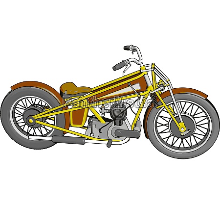 brown and yellow vintage chopper motorcycle