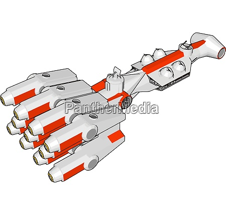 white and red fantasy spaceship vector