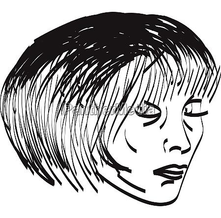a girl with short hair vector