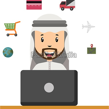 arab with laptop illustration vector on
