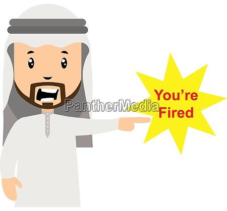arab fired people illustration vector on