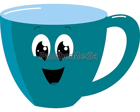 happy blue cup illustration vector on