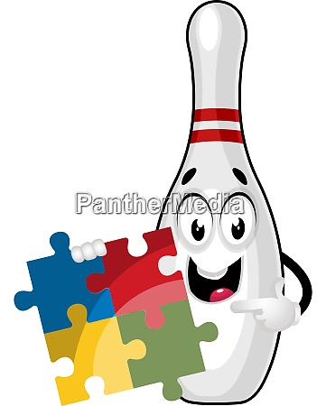 bowling pin with puzzle illustration vector